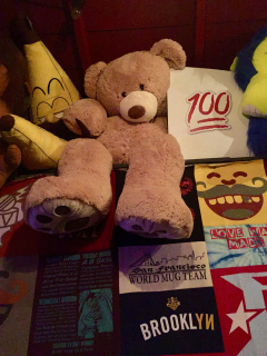 The Ginormous Teddy Bear at Full Circle Bar, Austin. Everyone wants the teddy bear!