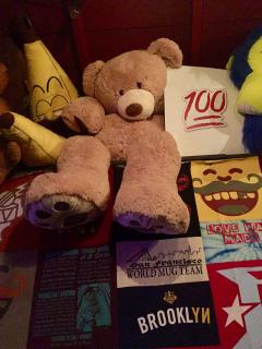 The Ginormous Teddy Bear at Full Circle Bar, Austin. Everyone wants the teddy bear!