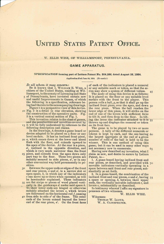 US Patent 304,286, Page 1